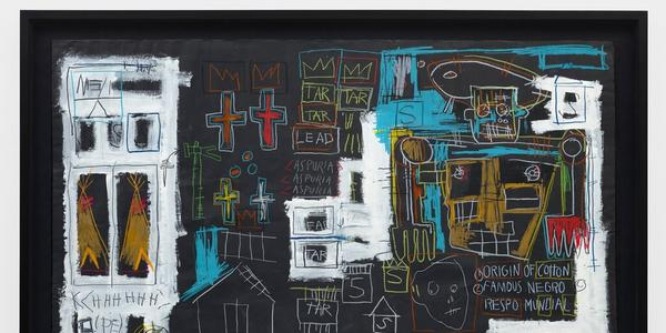 An untitled acrylic and oil stick on paper by Jean Michel Basquiat (1982)