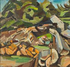 'Landscape with Woodchopper', c.1939.  Oil on canvas, 24 x 36 inches.