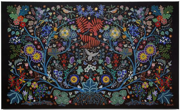 "The major traveling exhibition (supported in part with a National Endowment for the Humanities grant) ""Hearts of Our People: Native Women Artists"" has its final stop at Philbrook Museum of Art in Tulsa, OK, June 28-Sept.  20, 2020.  Christi Belcourt (Michif).  The Wisdom of the Universe, 2014.  Acrylic on canvas.  Art Gallery of Ontario, Toronto; Purchased with funds donated by Greg Latremoile, 2014, 2014/6.  © Christi Belcourt."