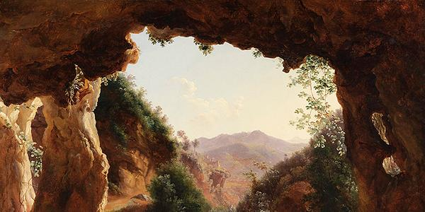 Louise-Joséphine Sarazin de Belmont, French, 1790 – 1870, Grotto in a Rocky Landscape, oil on paper, mounted on canvas, Private Collection, London