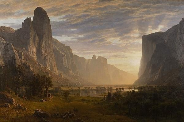 Albert Bierstadt (1830-1902) - Looking Down Yosemite Valley, California - 64 1/2 x 96 1/2 in