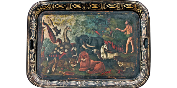 """""""Adam Naming the Animals,"""" antique oil painting on tin tray.  30"""" x 22"""".  From Diana H.  Bittel Arts & Antiques."""