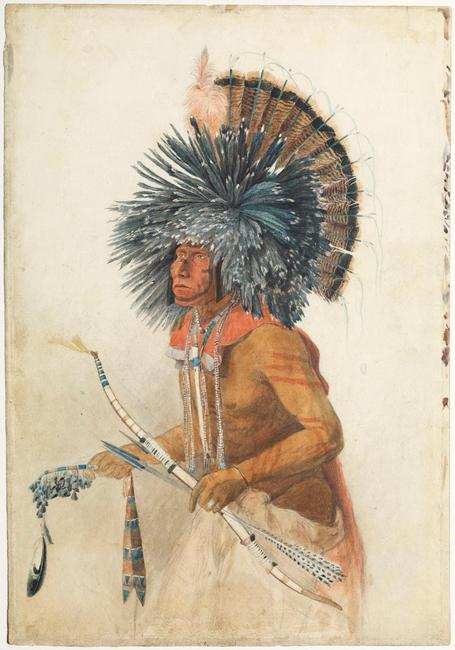 Karl Bodmer (Swiss, Riesbach 1809–1893 Barbizon).  Péhriska-Rúhpa, Hidatsa Man, 1834.  Watercolor and graphite on paper, 17 1/8 x 11 15/16 in.  Joslyn Art Museum, Gift of the Enron Art Foundation (1986.49.275)