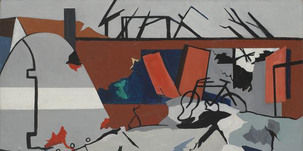 Ralston Crawford (1906-1978), Bomber, 1944, oil on canvas, 28 x 40 in.  Vilcek Collection, VF2016.03.02
