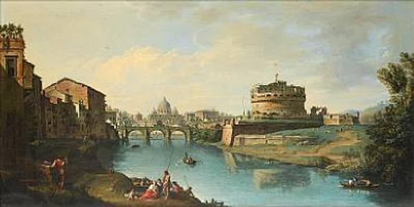 Giuseppe Zocchi (1711-1767) ,' View of the Tiber looking towards the Castel Sant'Angelo, with Saint Peter's in the distance'