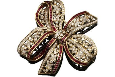 A 14-Karat Yellow-Gold, Ruby and Diamond 'Bow-Knot' Brooch