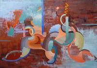 "Edith Branson, Dancing Rhythm, Oil on board 24""x34"""