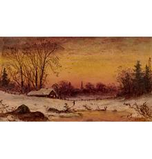 "Alfred T.  Bricher (1837 - 1908), Winter Afternoon, 1864, initialed, lower right oil on paper mounted on board, 6"" x 9"""