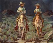 Harold Bugbee, Evening Ride, c.  1925-30, oil on canvas board, 12 x 14 inches.