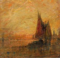 "William Gedney Bunce, (1840 - 1916), ""Venetian Light,"" signed lower left, oil, 21"" x 15"" $9,500"