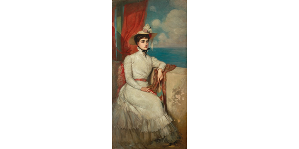 Lot 9: RUPERT BUNNY 1864-1947.  Portrait of Mlle Morel (1895), oil on canvas, 185 x 90 cm.  Estimate $800,000–1,200,000 (AUD)