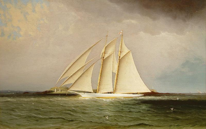 "James E.  Buttersworth (1817-1894) ""America's Cup yacht, Magic"", Oil on canvas.  14"" x 22""."