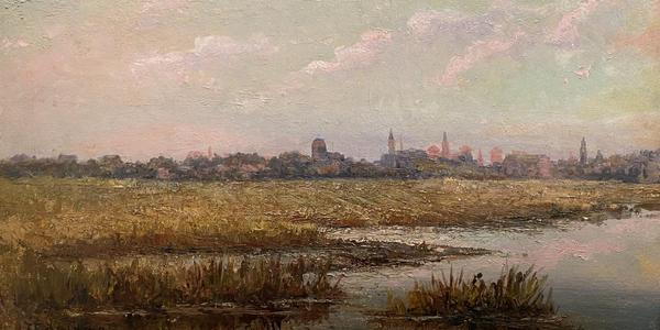 Felix F.  de Crano (French-American, 1839-1908) Marshes and St.  Augustine Skyline, 1893.  Oil on Board.