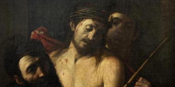 Detail of the painting that was originally attributed in an online auction catalogue to a 17th-century artist who was a notable follower of Caravaggio.