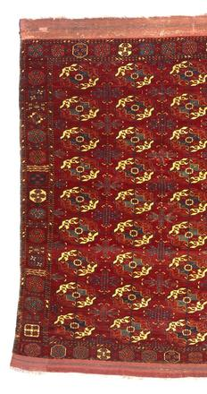 Tekke Main Carpet with Nine Rows of Four Major Tribal Guls in Repeat, Gift of James F.  Ballard