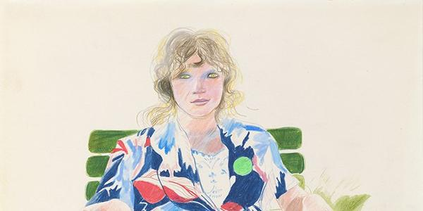 David Hockney, Celia, Carennac, August 1971.  Colored pencil on paper, 17 x 14 inches © David Hockney.  Photography by Richard Schmidt, Collection: The David Hockney Foundation