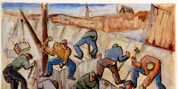 Men Working in Granite Quarry, Cape Ann, by Abraham Frater Levinson (American, 1883 - 1946) ca.  1935.  Watercolor with graphite on tan wove paper.  Gift of Velma Mekeel Stauffe.