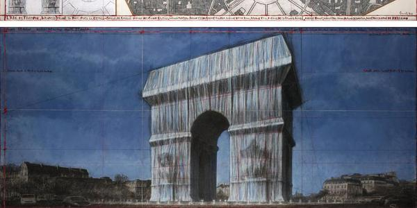 "Christo, L'Arc de Triomphe, Wrapped (Project for Paris) Place de l'Etoile – Charles de Gaulle.  Drawing 2019 in two parts.  Pencil, charcoal, pastel, wax crayon, enamel paint, architectural and topographic survey, hand-drawn map on vellum and tape.  15 x 96"" and 42 x 96"" (38 x 244 cm and 106.6 x 244 cm)."