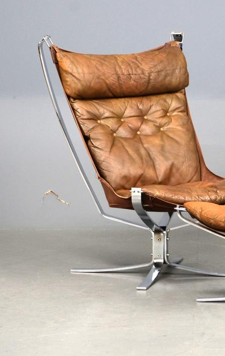 A Falcon chair and stool with chrome frame and leather cushions, designed by Sigurd Ressell in 1971.  Made by Vatne, Norway.  £1,650.00.  To be shown by Scandinavian by Design.