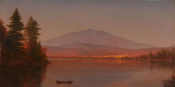 "Part of ""Stories of Maine,"" Frederic Edwin Church (United States, 1826–1900), Mount Katahdin from Millinocket Camp, 1895, oil on canvas.  Gift of Owen W.  and Anna H.  Wells in memory of Elizabeth B.  Noyce, 1998.96."