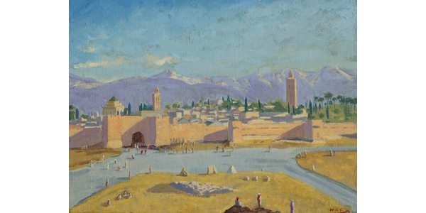 Sir Winston Churchill, 'Tower of the Koutoubia Mosque,' 1943.  Estimated to bring 1.5 million pounds to 2.5 million pounds ($2.1 million to $3.4 million) in Christie's March 1 sale.