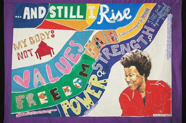Banner by Service users from East London Foundation Trust, Tower Hamlets working with Claudette Johnson
