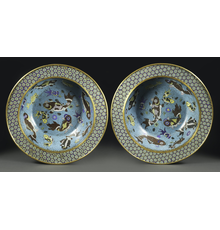 A pair of Large Chinese Cloisonné Basins, circa.  1736-1795 Diameter: 18 3/4 inches