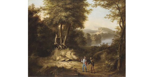 "Thomas Cole, Hunters in a Landscape, 1824-25, 28 1/4"" x 35 1/2"", Oil on canvas, Thomas Cole National Historic Site, Gift of Dr.  Susan Gates Austin Warner"