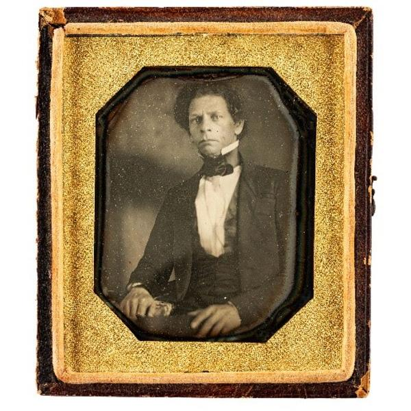 Sixth plate daguerreotype of Joseph Jenkins Roberts, the first and seventh president of Liberia.  N.p., ca 1840s.  Price Realized: $13,750