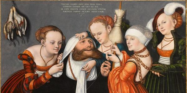 Lucas Cranach the Elder, Hercules at the Court of Omphale , 1531.  Oil on panel.  Collection from the Fondation Bemberg.  © Fondation Bemberg and RMN