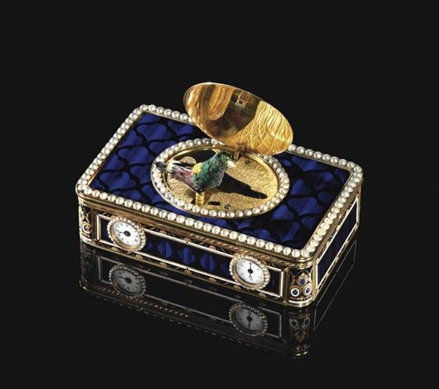 A Swiss Gold, Enamel and Pearl-Set Singing-Bird Box with Watch Movement