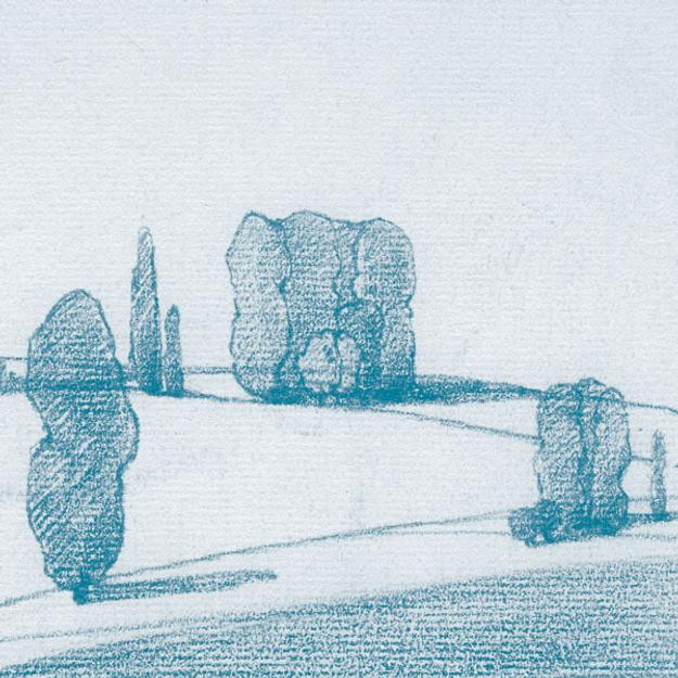 Leon Dabo, Groups of Trees in a Raking Light, colored crayon on paper, 5.5 x 7.75 inches