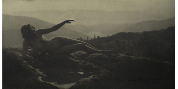 """Photographed at Donner Pass in the Sierras, Anne Brigman, """"Dawn,"""" 1909.  Gelatin silver print, 5 1/4 x 10 1/4 in.  The Metropolitan Museum of Art, Alfred Stieglitz Collection, 1933.  (33.43.100).  Copy photograph © The Metropolitan Museum of Art.  Image © The Metropolitan Museum of Art.  Image source: Art Resource, NY"""