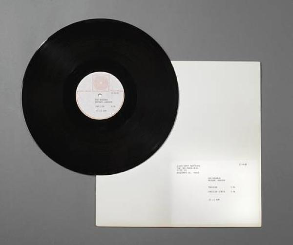 A Michael Jackson original master test proof recording of the single 'Thriller,' 1983.  Estimate: $4,000-$6,000.
