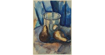 From Kraushaar Galleries: Marsden Hartley 1877-1943.  A GLASS AND TWO PEARS, c1926 watercolor on paper 9.625 x 6,