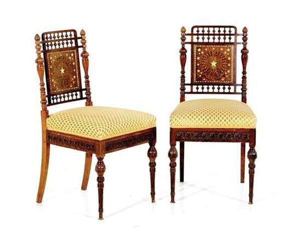 A discovery, too late to catalog, found that three lots were commissioned by William H.  Vanderbilt in 1880 for his Fifth Avenue, New York City apartment, including a pair of Aesthetic Movement rosewood and mother-of-pearl side chairs that sold for $97,750.