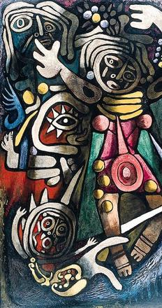 """Ceremonial Dancers"" (1948) - One of five works in the exhibition from the artist's Atomic Series."