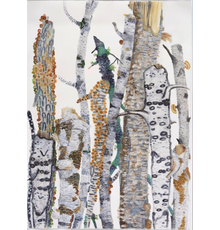 Big Time (The Birches) Watercolor, 72x52 inches