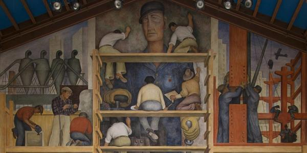 "(detail) Diego Rivera's 1931 ""The Making of a Fresco Showing the Building of a City"" at the San Francisco Art Institute."