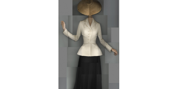 Christian Dior (French, 1905–1957).  Bar suit, afternoon ensemble with an ecru natural shantung jacket and black pleated wool crepe skirt.  Haute Couture Spring–Summer 1947, Corolle line.  Dior Héritage collection, Paris.  (Composite scan: Katerina Jebb)