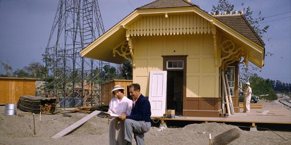 Ruth Shellhorn and Walt Disney reviewing plans for Disneyland, CA, July 2, 1955.  Courtesy The Cultural Landscape Foundation.