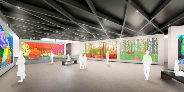 Interior rendering for planned Dodington Art Gallery, designed by Wilkinson Eyre.