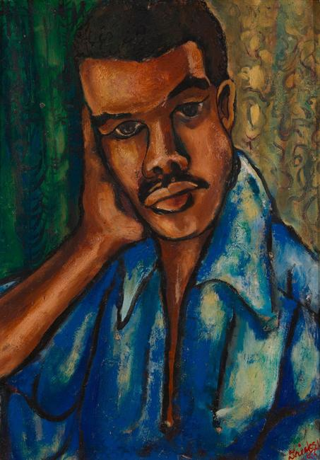 David C.  Driskell (American, 1931–2020), Self-Portrait, 1953, oil on board, collection of the Estate of David C.  Driskell, Maryland.  © Estate of David C.  Driskell.  Courtesy DC Moore Gallery, New York.  Photograph by Luc Demers.