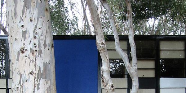 Main entry of the Eames House, Pacific Palisades, California.  Photograph by John Morse, June 2003.