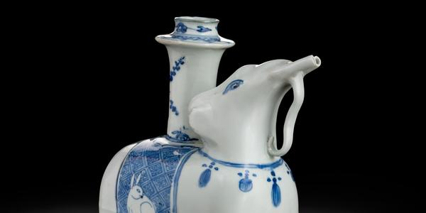 Elephant Pouring Vessel (Kendi) made by artists in Jingdezhen, China, c.  1600.  Peabody Essex Museum.