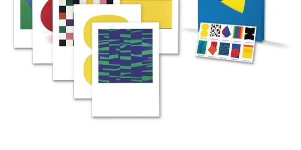 Ellsworth Kelly Oversized Postcard Set with matching stamps.