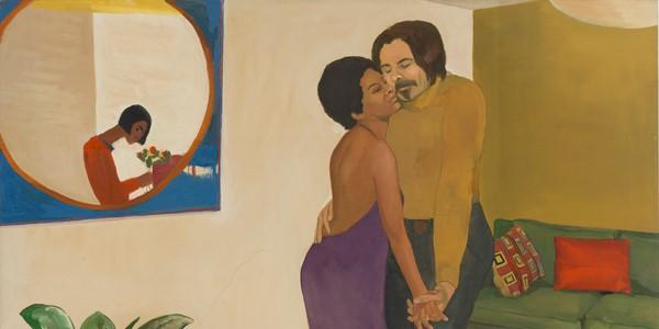 "Emma Amos (American, 1937 – 2020), ""Sandy and Her Husband,"" 1973.  Oil on canvas, 44 1⁄4 × 50 1/4 inches.  Cleveland Museum of Art; John L.  Severance Fund, 2018.24."