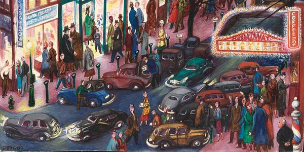 Lucille Corcos, Everybody's Downtown, 1948, tempera on board, 14-1/2 x 11-1/8 inches.  Collection of David and Susan Werner