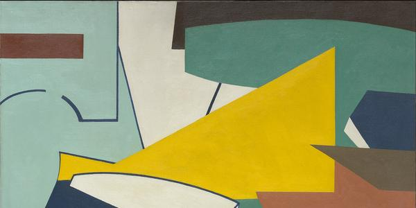 Ralston Crawford (1906-1978), Factory with Yellow Center Shape, 1947, oil on canvas, 28 x 40 in.  Vilcek Collection, VF2013.01.01