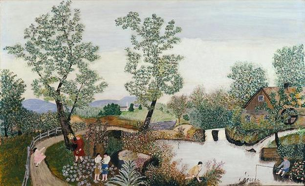 Grandma Moses, Quiet Day, 1951, sold by Owen Gallery.